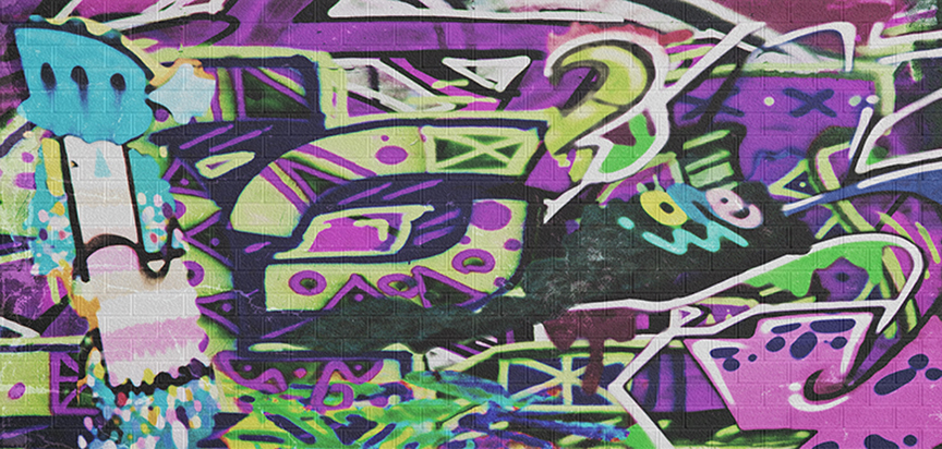 Graffiti Purple Funeral Cap Panel Insert