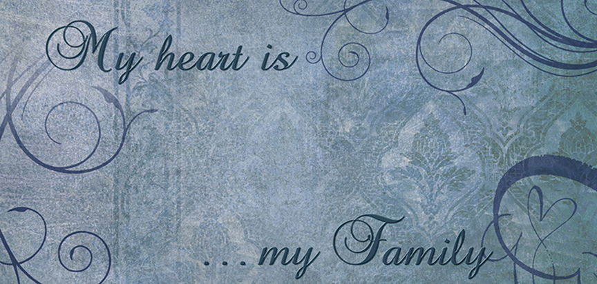 My Heart Is My Family Blue Cap Panel Insert