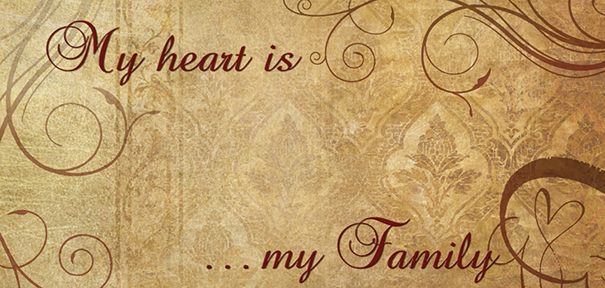 My Heart Is My Family Tan Casket Cap Panel Insert