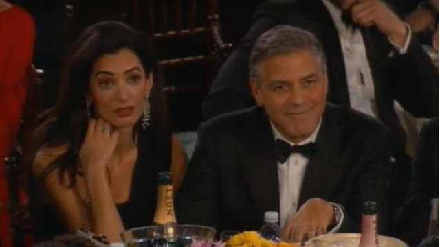 Amal Alamuddin bored at Golden Globes 2015