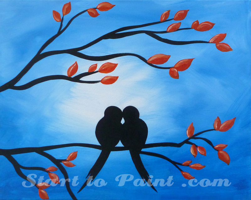 Love Birds on a Tree Branch.jpg