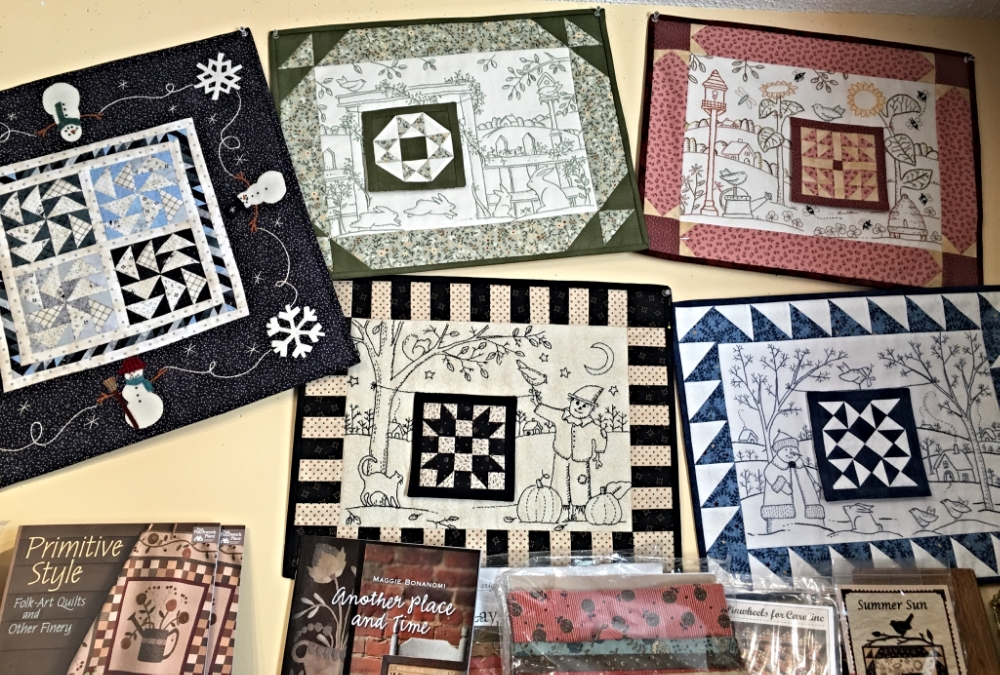 Beautiful samples on display at Quilter's Cupboard in Uxbridge, Ontario