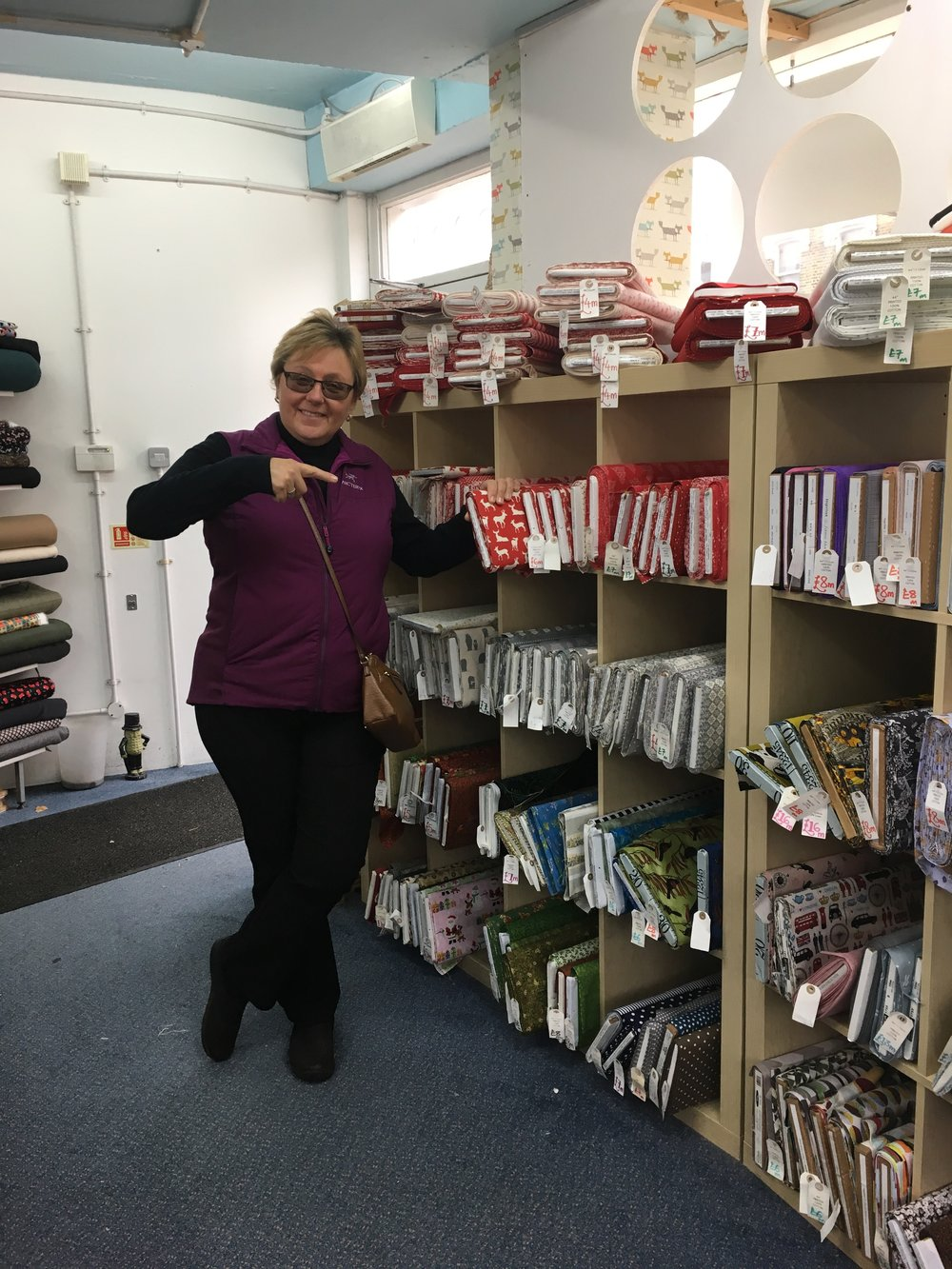 I did find a fabric shop in London.  Oh happy times!