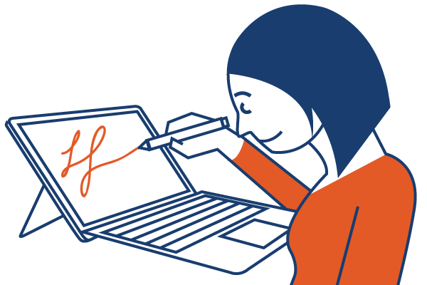 Woman illustrating with Surface Pro