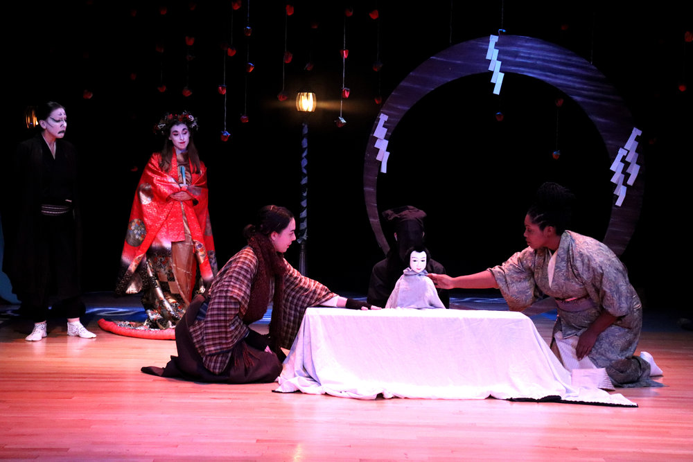 (left to right) Shannon Davis as Sukurooji Ebezo, Adrian Deane as the Ghost of Christmas Future, Annika Bergman as Kurando, Jacob Ritts as Kurogo, Mikah Kavita as Kurando's Wife  Photo by Alex Sinclair