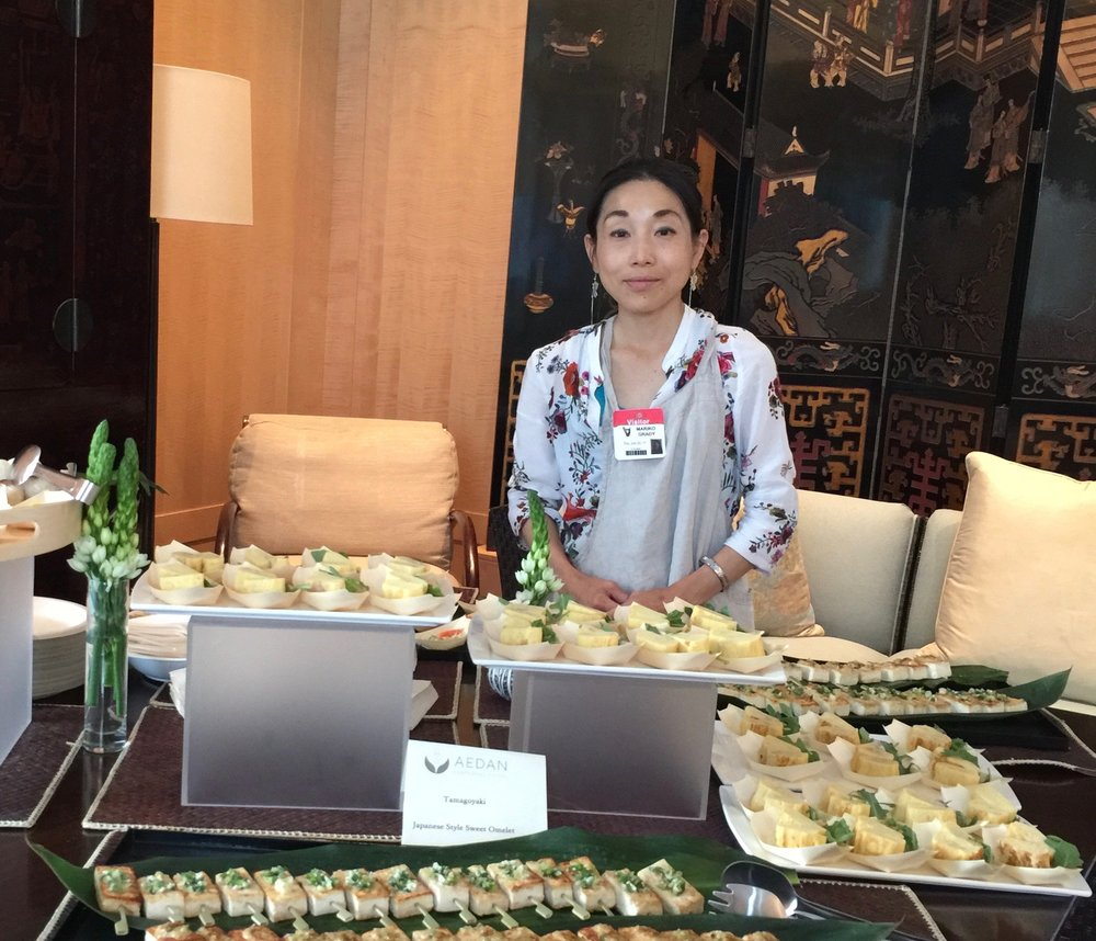 Chef Eri Shimizu displays tofu dengaku and tamagoyaki. Photo by Megumi Konishi.   Click to download