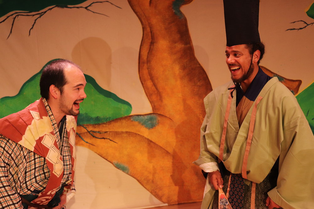 Nick Ishimaru (Taro-kaja) and Ryan Marchand (Samurai Lord) share a laugh.  Photo by Alex Sinclair.