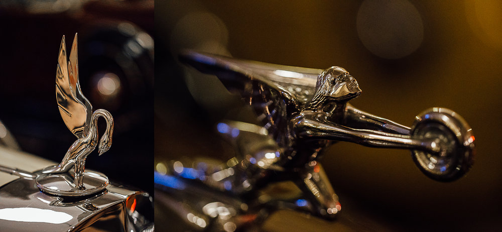 Vintage Packard Car Hood Ornaments at Wedding Reception by Corrie Mick Photography.jpg