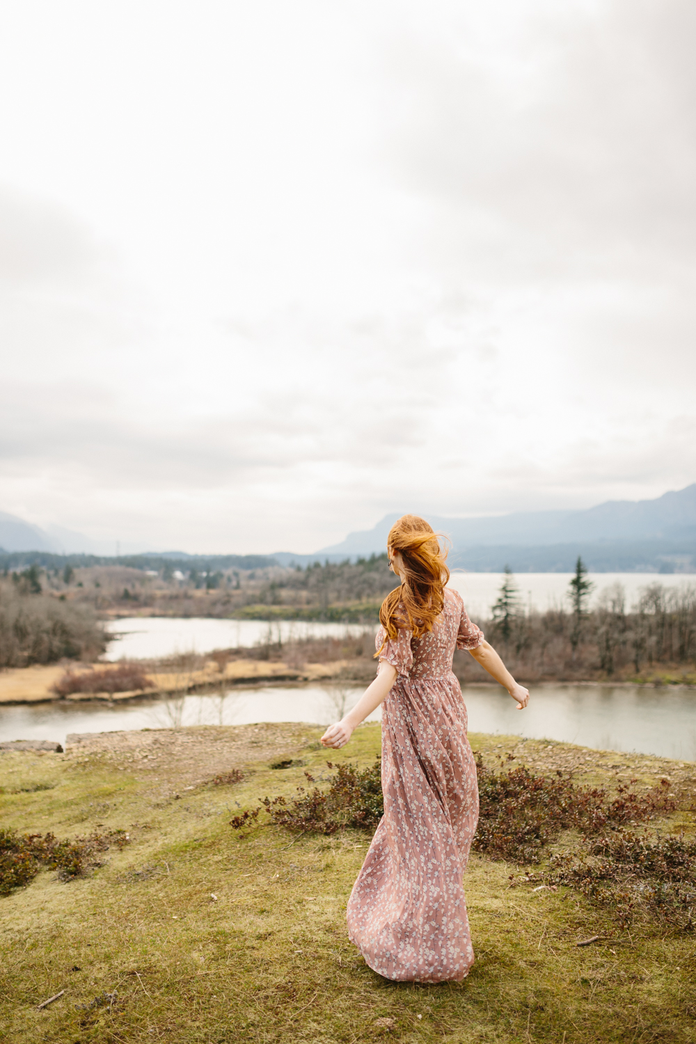 Columbia River Gorge - Portrait of a woman dancing in the wind