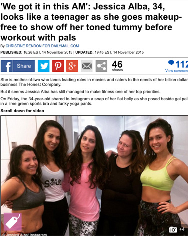 "Jessica Alba ... Toned Tummy Workout with Pals"" in the Daily Mail UK"