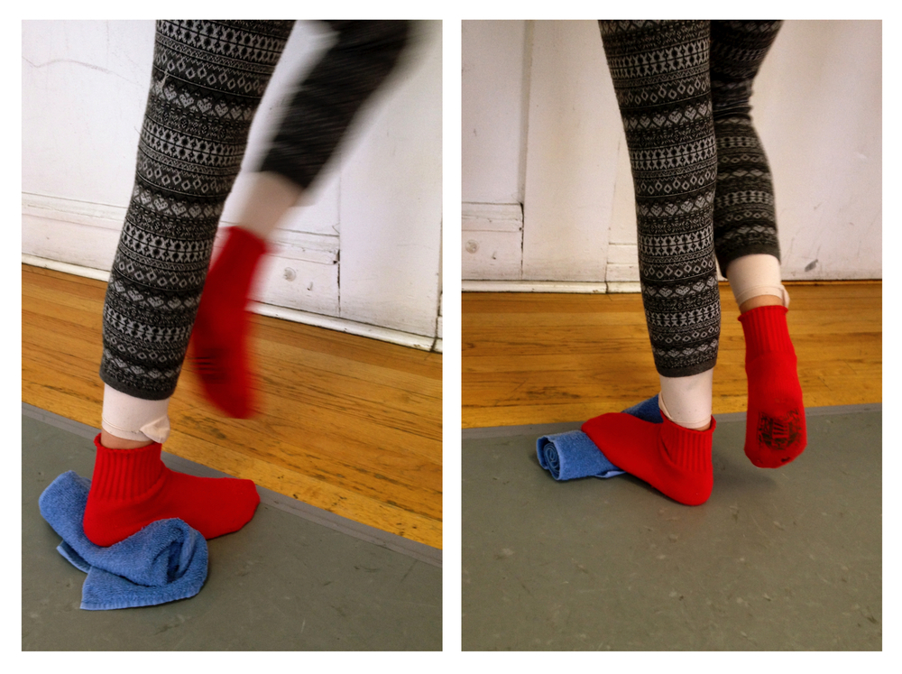 Two approaches to stretching the calf in three dimensions:  Position/Movement: Face the barre or a wall, use hands for support. Place 1 foot on the floor, toes forward, toes in, or toes out (whichever is most comfortable). Move other knee 5-10 times in each direction: straight forward and backward, then straight side to side, then rotationally to the right and left. Allow your body to follow the movement of the knee. If your ankle on the standing leg isn't moving, bring that foot closer to the wall and try again. Please discontinue this exercise and consult your doctor or physical therapist if you feel pain.  Pictured Left: Towel roll under the heel lessens the (dorsi)flexion in the ankle allowing more side to side and rotational movement success.  Pictured Right: Towel roll under the ball of the foot causes more dorsiflexion in the ankle, which challenges the foot and ankle to be more flexible in all 3 directions.