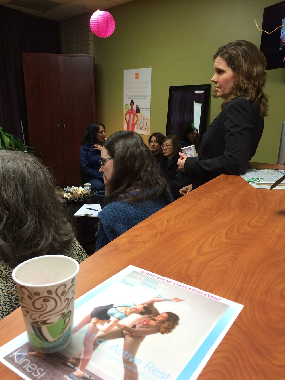 """Left and Above:  Melissa Reh, PT , presenting """"Living an Active and Healthy Life (Without Pain)"""" at Women, Wine, and Wellness Event March 4, 2016,Orinoco Fitness in Libertyville, IL."""