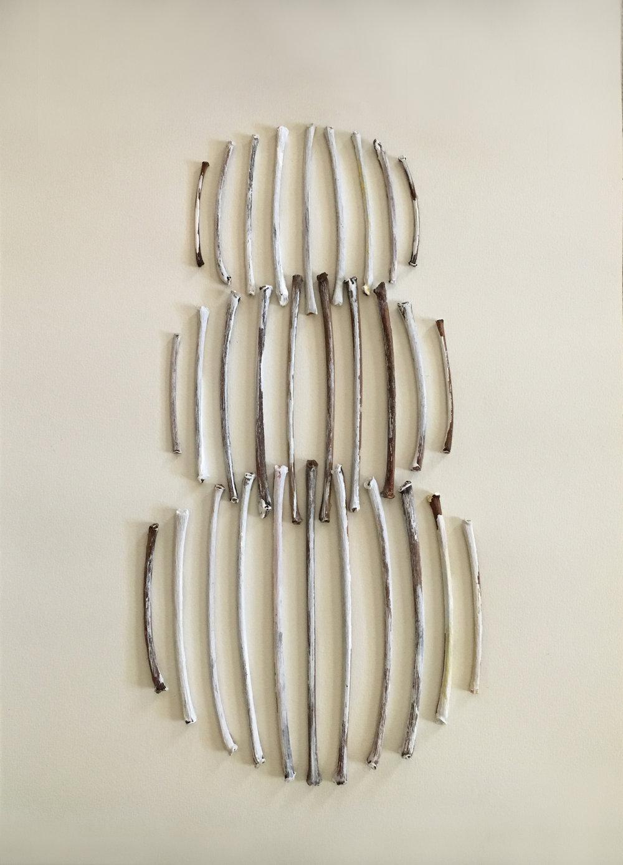 "Untitled   sticks on paper 12"" x 17"""