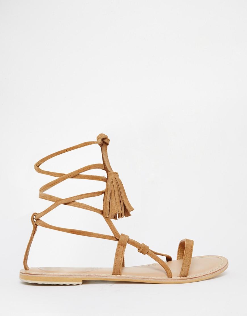Nude Tassel Ankle Wrap Sandal