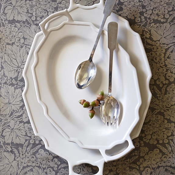 Antique White Platter with Handles