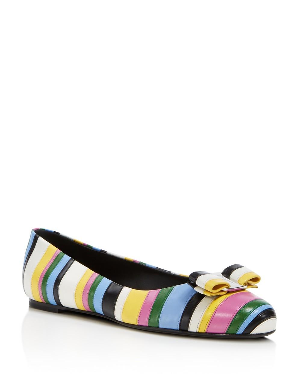 Salvatore Ferragamo Varina Stripe Bow Flats