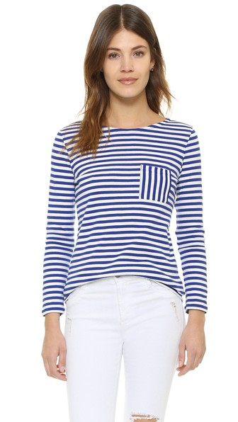 Petit Bateau Striped Long Sleeve Pocket Tee