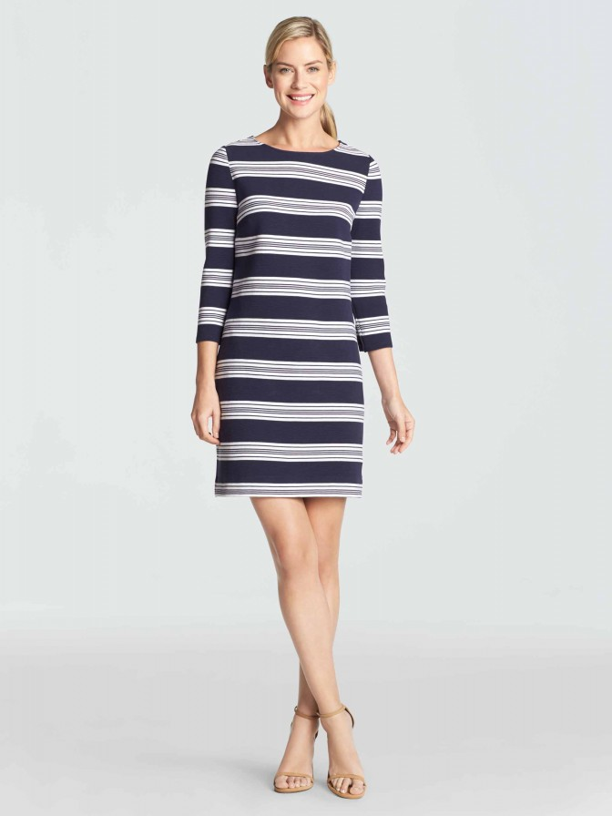 Ottoman Stripe Knit Shift Dress | Draper James