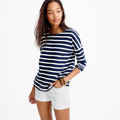 Striped T-Shirt with Pom-Poms | J. Crew
