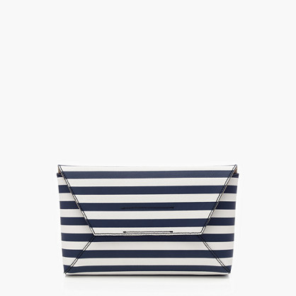 Striped Leather Envelope Clutch