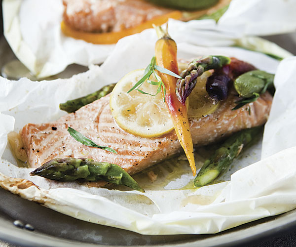 Salmon and Spring Vegetables Baked in Paper | Fine Cooking