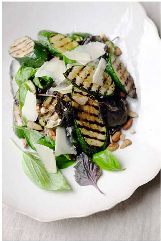 Grilled Zucchini Salad with Parmesan, Basil, and Hazelnuts