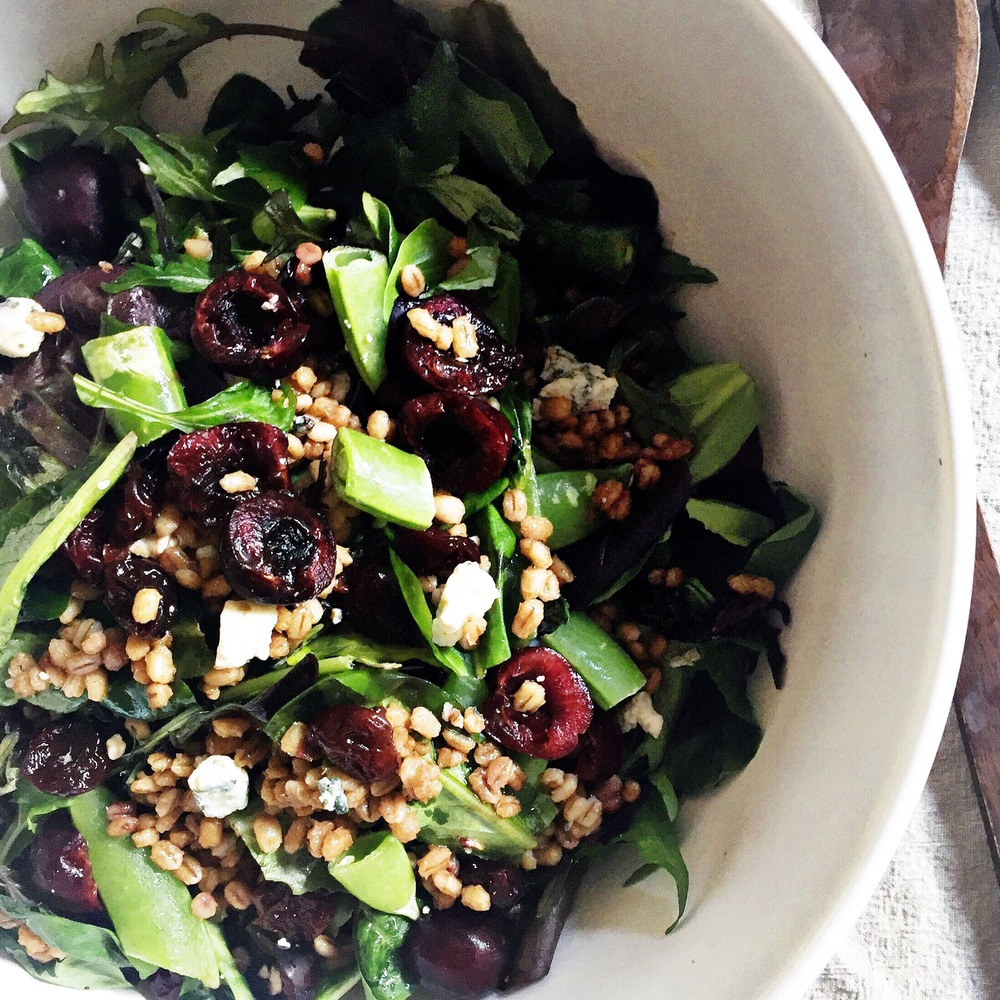 Toasted Barley Salad with Dried and Fresh Cherries