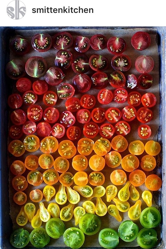 Rainbow tomatoes at Smitten Kitchen