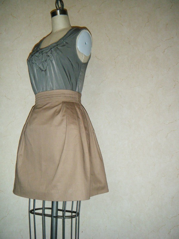 Khaki mini skirt. For sale in my etsy shop. Click to see.