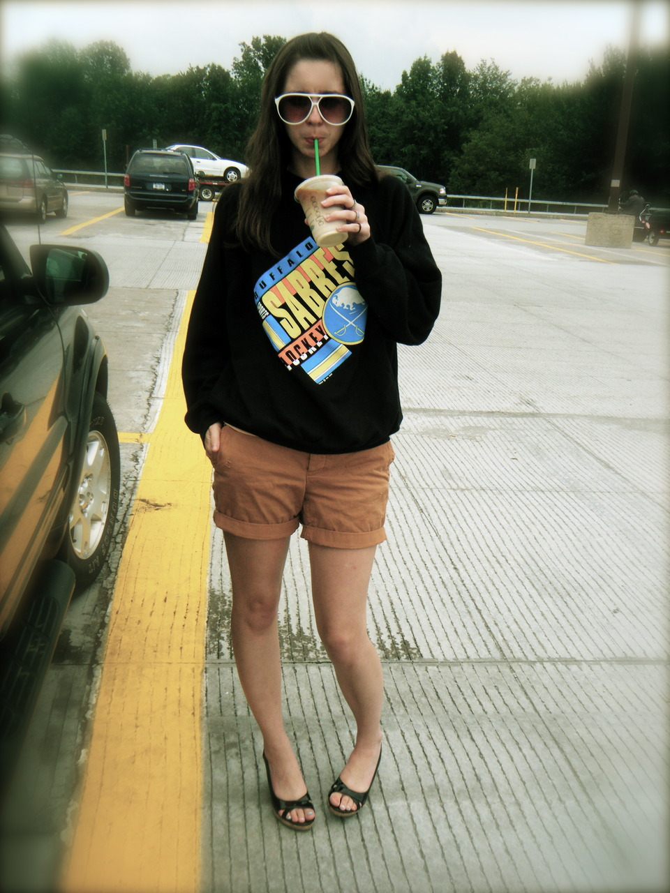 sunglasses: U.O sweatshirt: vintage - Ebay shorts: JCrew Wedges: Steve Madden drink: Starbucks iced white chocolate mocha