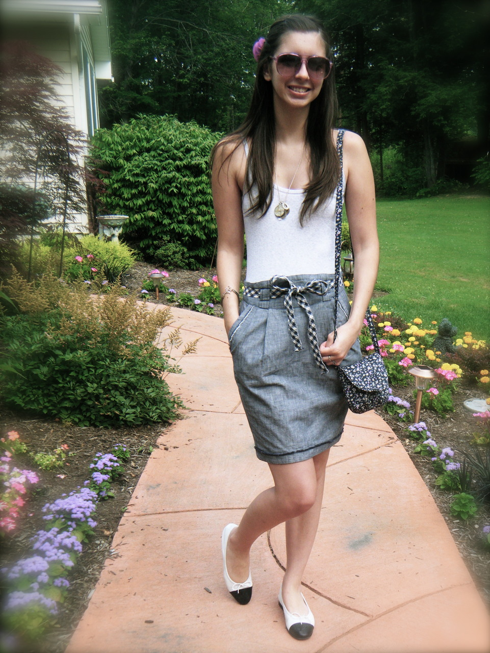 hair clip: JCrew sunglasses: H&M necklace: custom tank: Gap skirt: Anthropologie purse: H&M shoes: Chanel