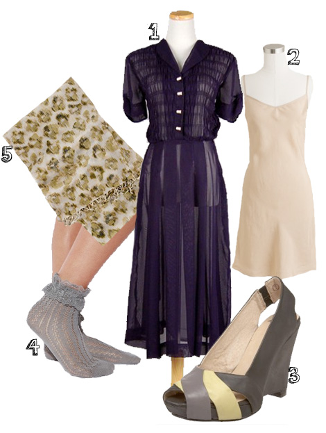 1. dress:  Nod to Mod Vintage    2. slip:  JCrew    3. heels:  Faryl Robin    4. socks:  Urban Outfitters    5. scarf:  JCrew