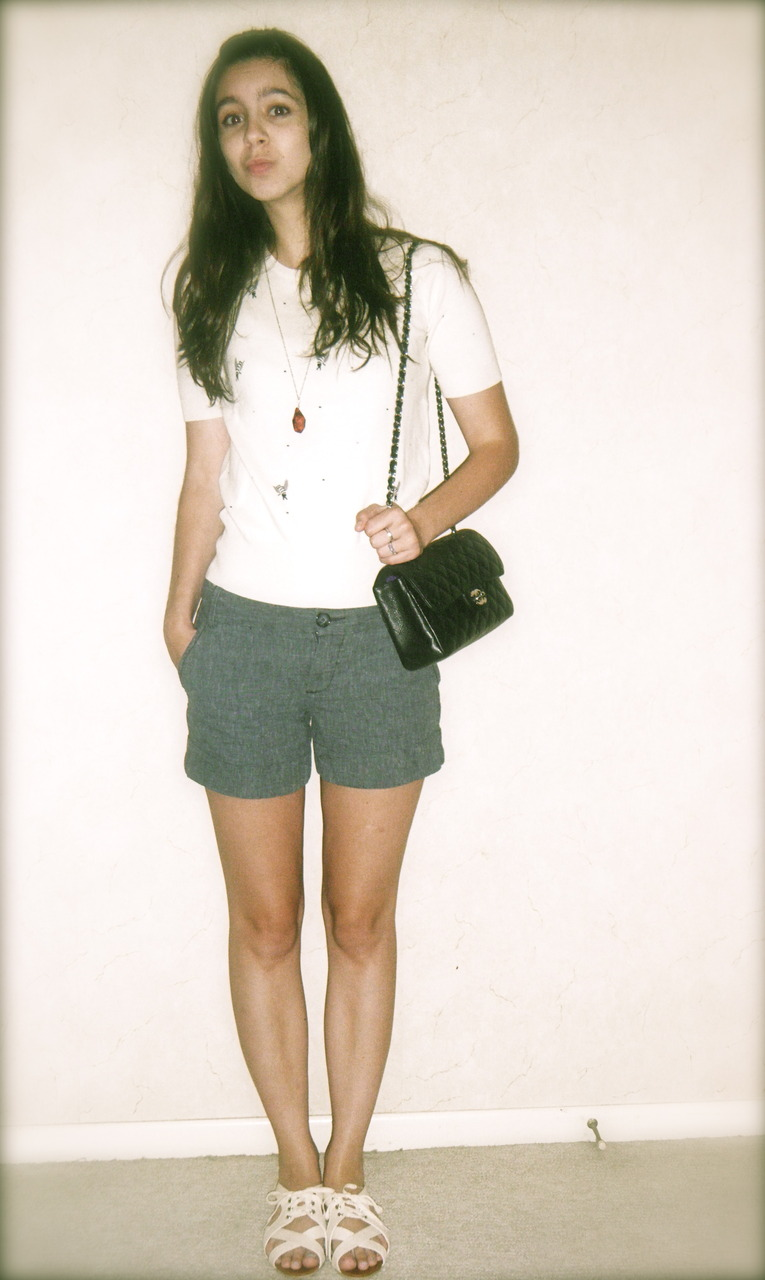 bee sweater: U.O   amber necklace: my grandma's   shorts: Express   purse: Chanel   sandals: U.O