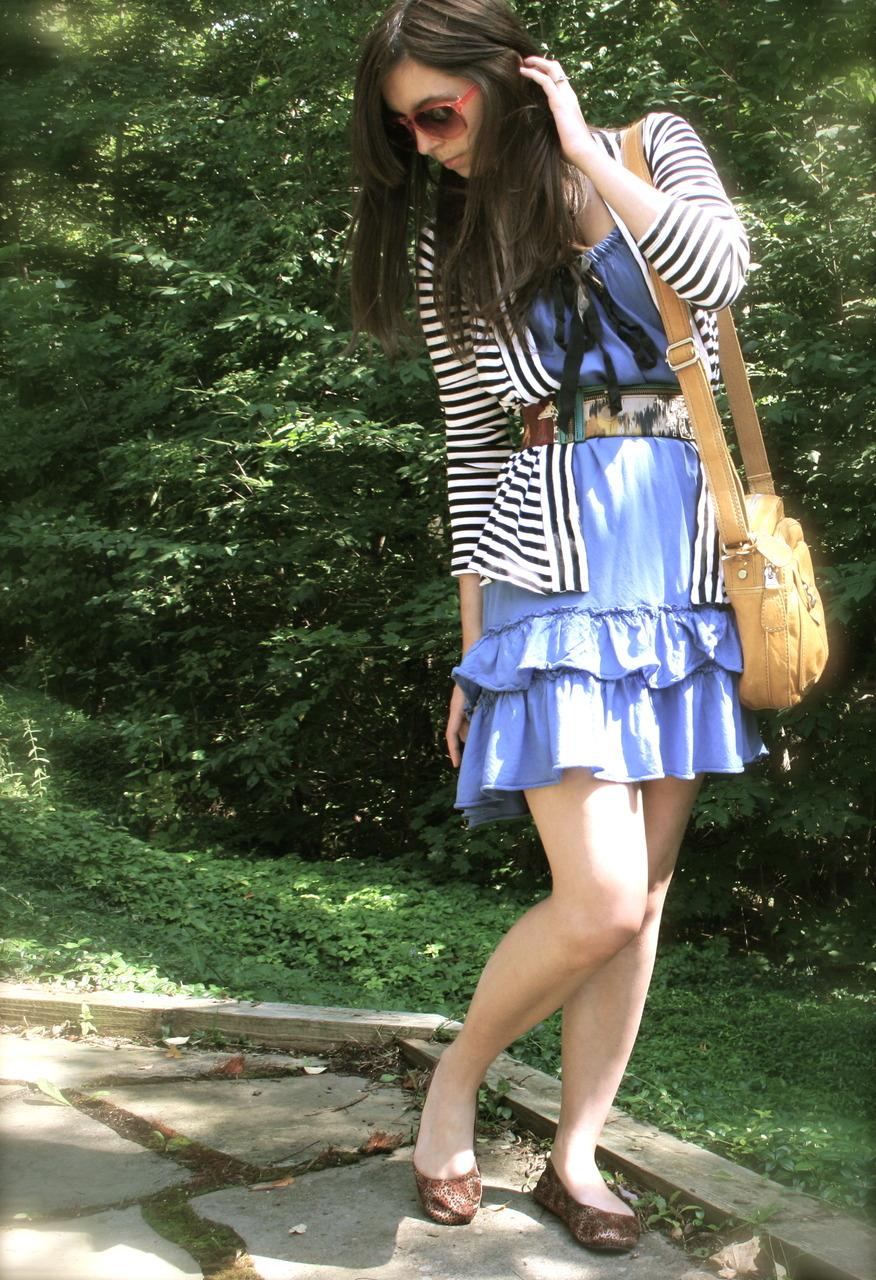 sunglasses: U.O cardigan: Express dress: Gap belt: Anthropologie bag: Fossil flats: Target