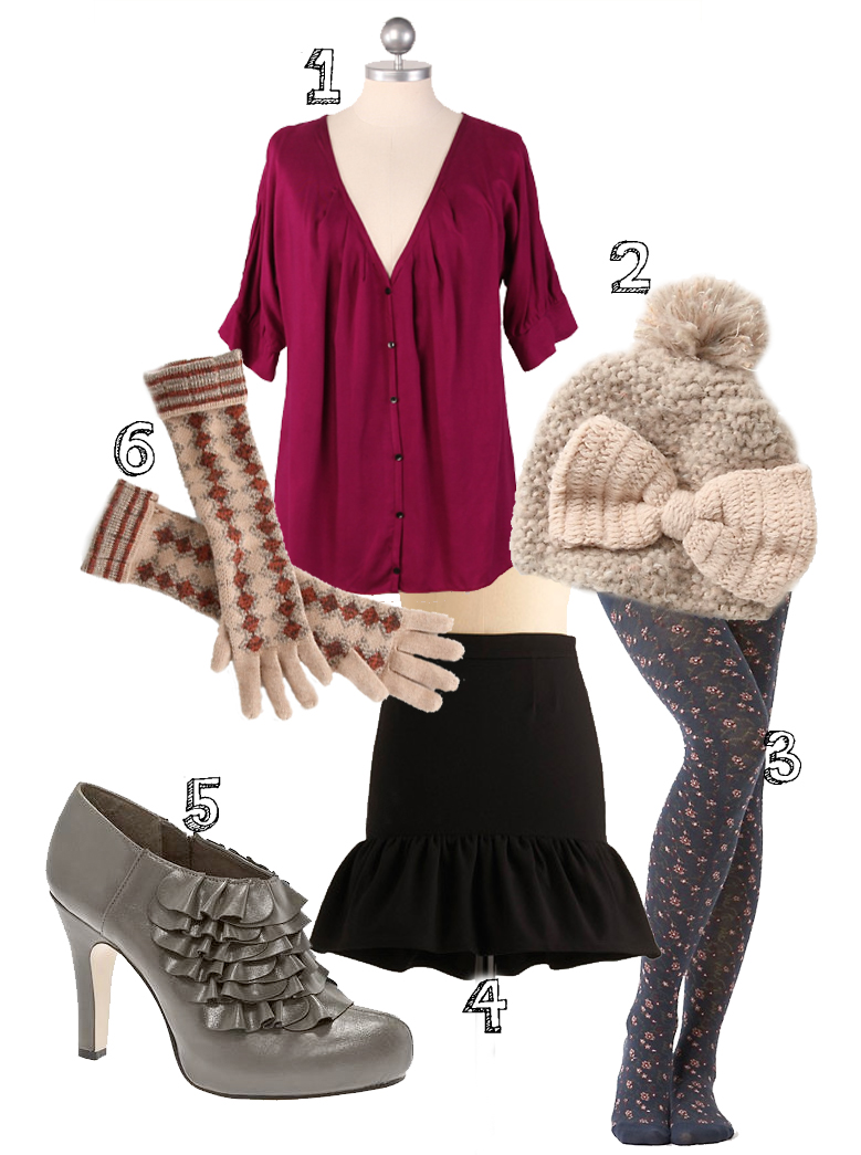 Outfit Wishlist    1. top from  Ruche    2. hat from  Anthropologie    3. tights from  Anthropologie    4. BB Dakota skirt from  Modcloth    5.  Madden Girl  booties   6. gloves from  Anthropologie