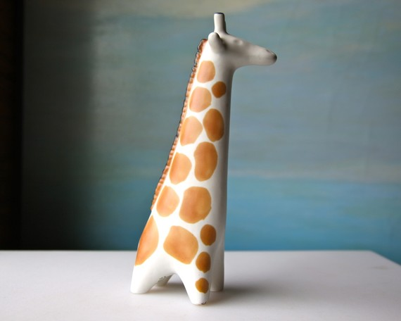 etsy: Vintage Arabia Giraffe 1964 Finland White and Brown by domestikate