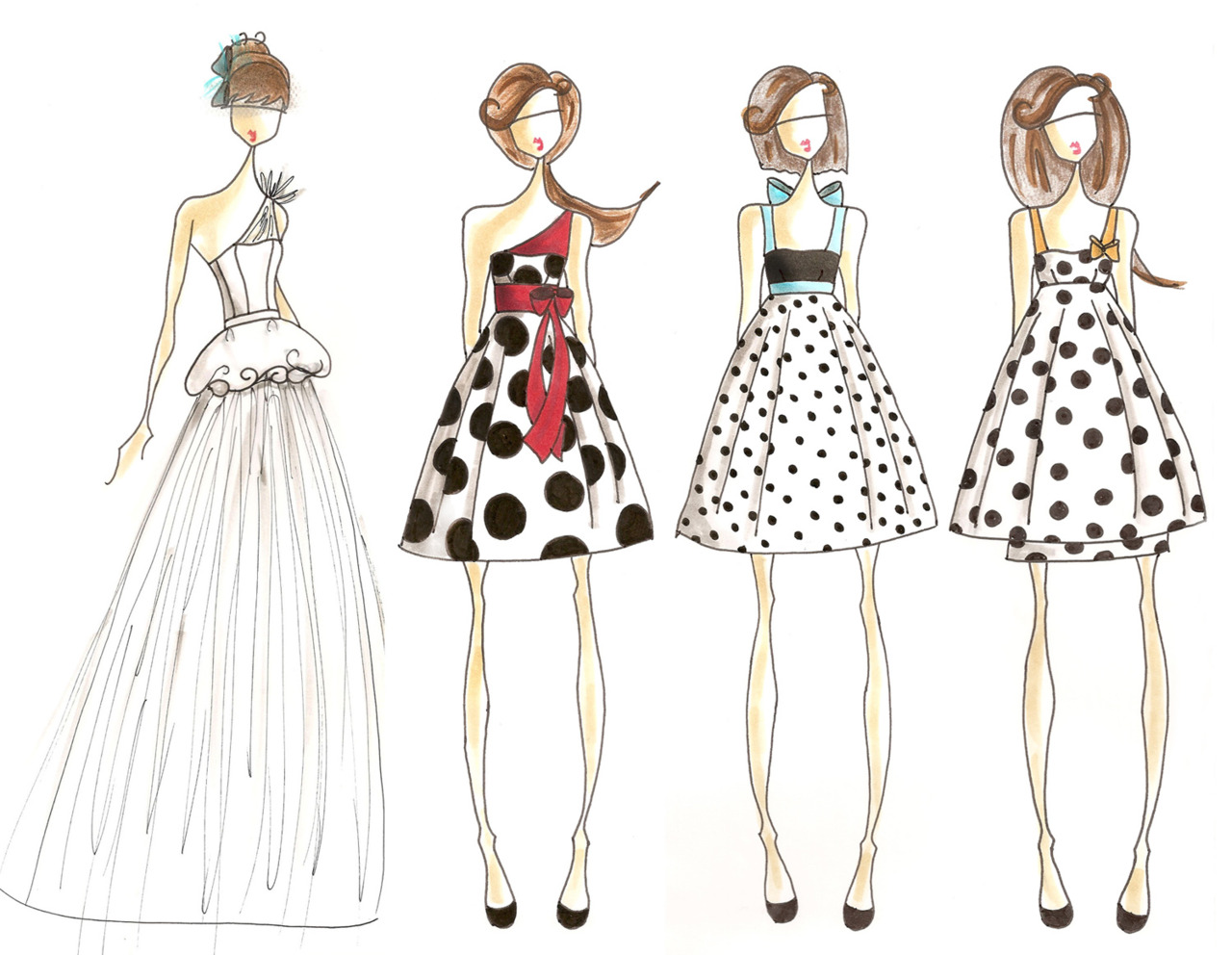 I've been in love with this  dress on Modcloth  for awhile now. And I was looking a it the other day and I realized - omg, when I get married I want my bridesmaids to wear that. So I got in the mood to do a little sketching. Nothing crazy. But I threw together a mini bridal party collection. Tadaaaaa.