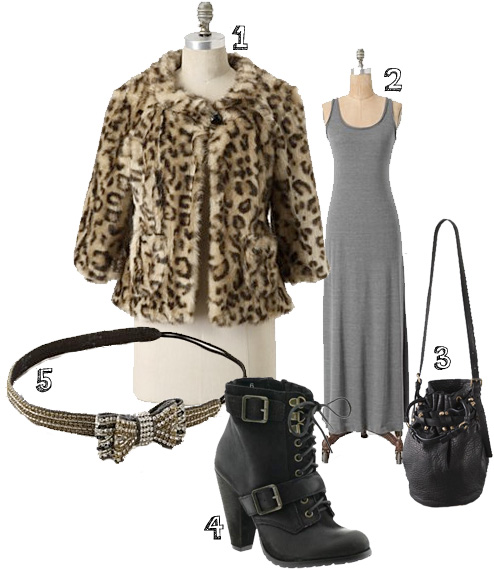1. coat:  Antropologie    2. maxi dress:  Anthropologie    3. purse:  Alexander Wang    4. boots:  Seychelles    5. headband:  Anthropologie