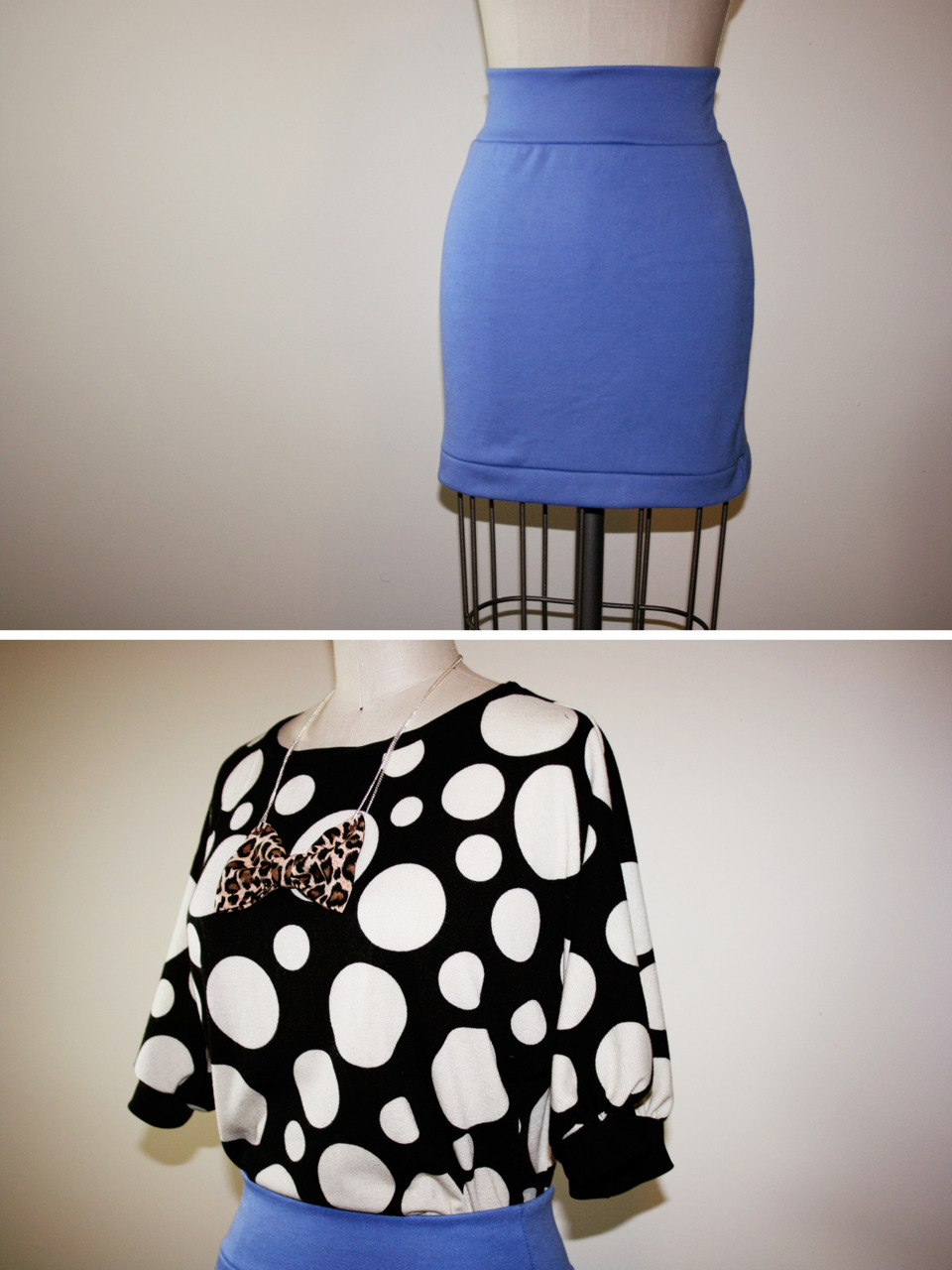 A few  shop  updates today…. Polka dot top and knit mini skirt.   Outfit post featuring the top to come later today.