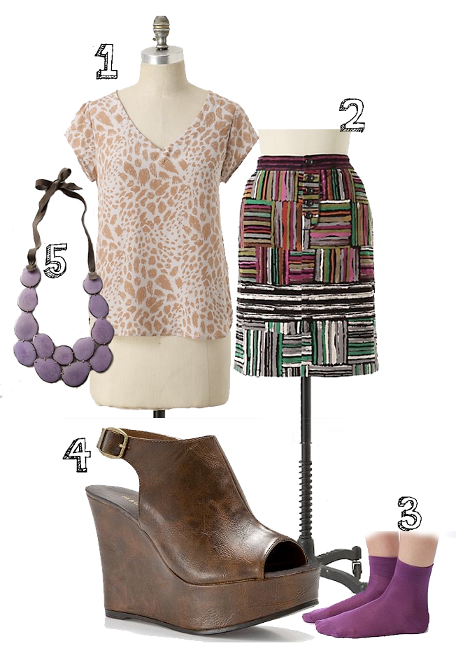 Outfit Wishlist    1. top from  Anthropologie    2. skirt from  Anthropologie    3.  Urban Outffitters  socks   4.  Madden Girl  wedge sandals   5. necklace from  Anthropologie