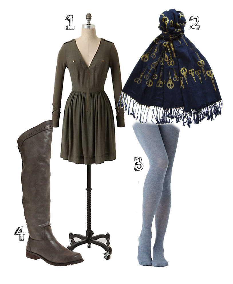 Outfit Wishlist    1. dress from  Anthropologie    2.  Snoozer Loser  scarf   3. Hue tights from  Anthropologie     4. boots from  Modcloth