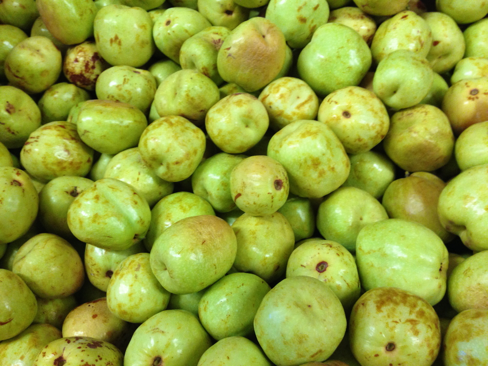 Jujube, an apple-like fruit.  Chrunchy, chrisp, no too much flavor in the ones I've tried.