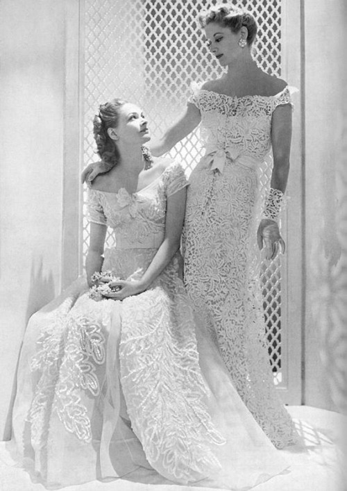 Evening gowns by Chanel, 1938.