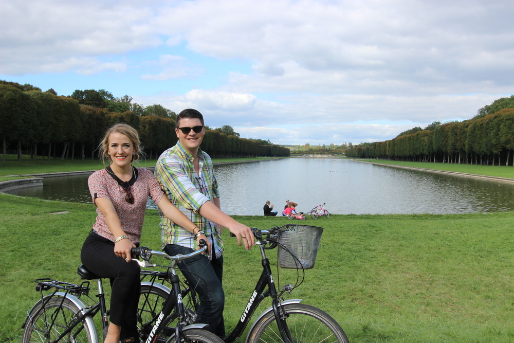 Riding bikes in Versailles