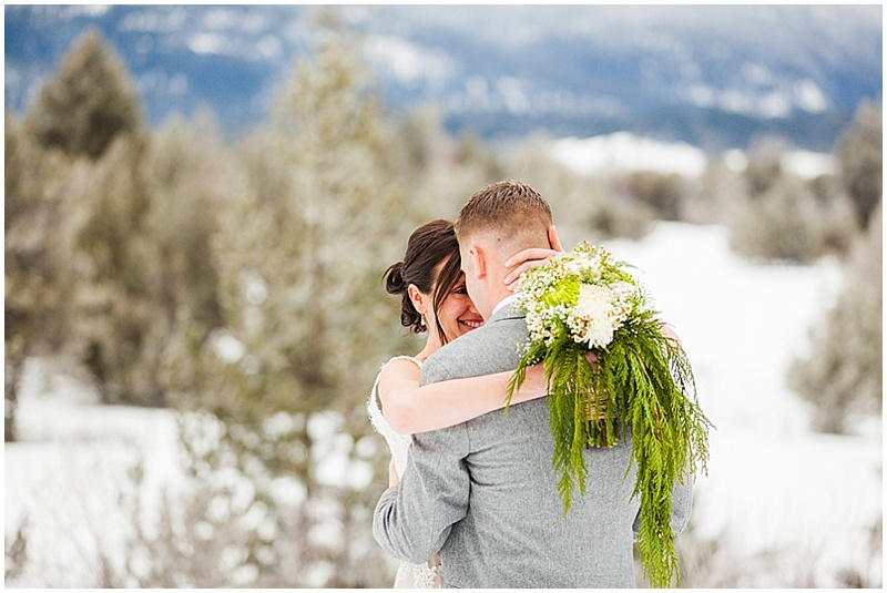 snowy idaho wedding