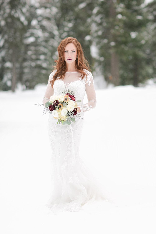 idaho bride in the snow