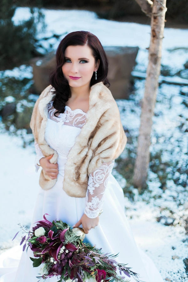 long sleeve winter wedding gown