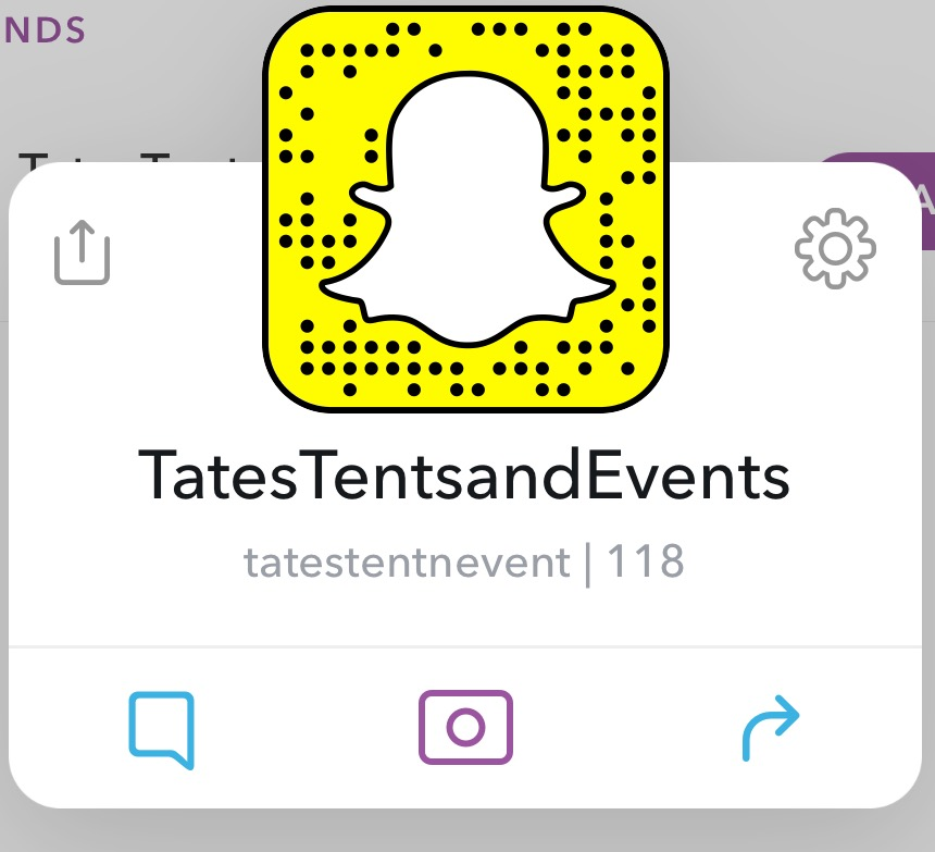 Tates Tents and Events Snapchat
