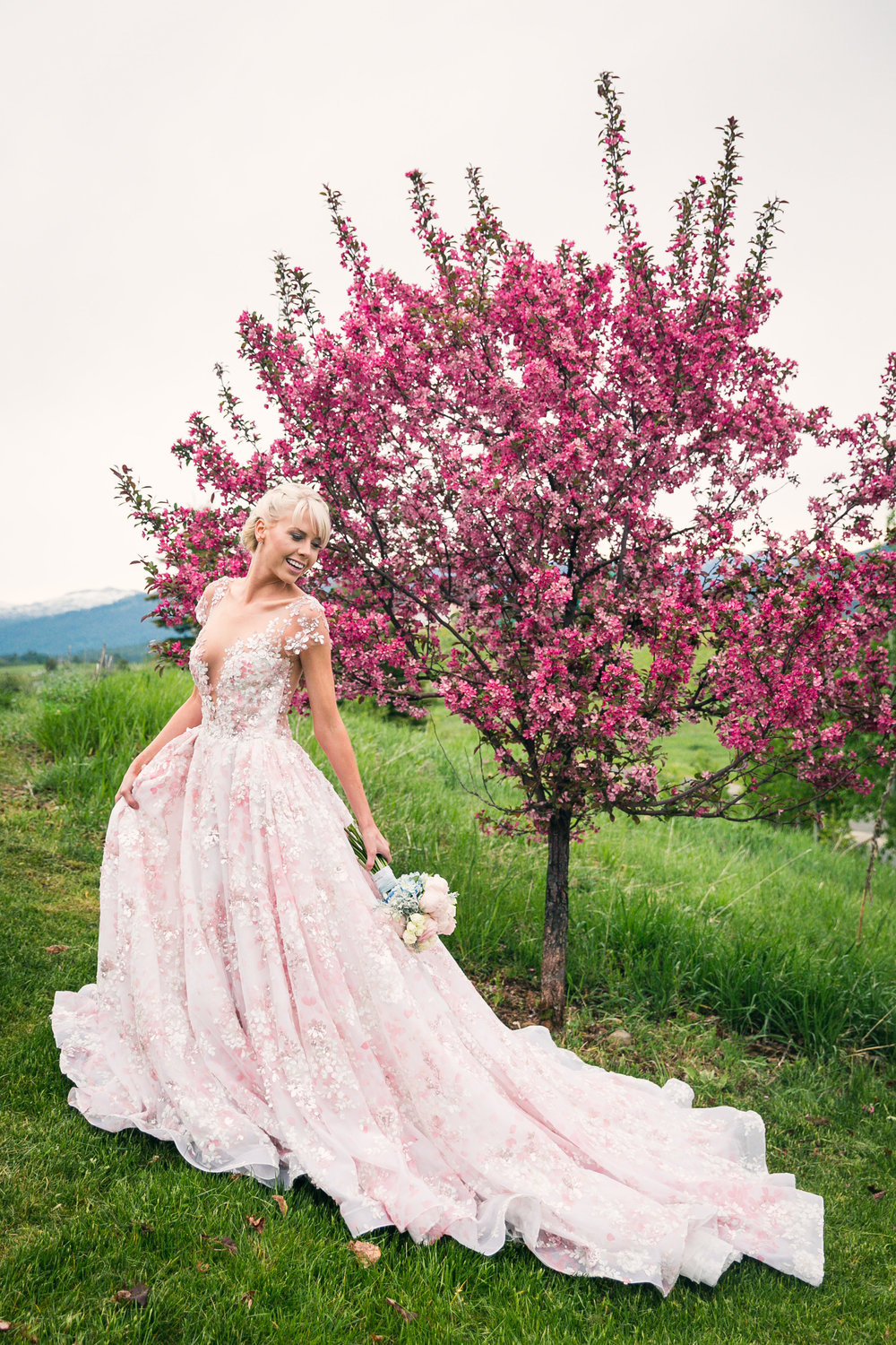 pink wedding dress spring bride