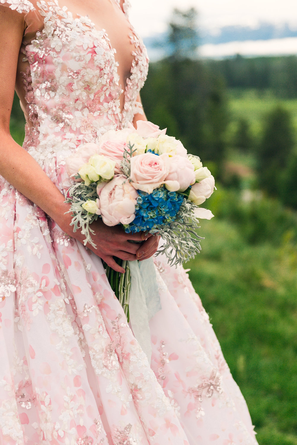 pink and blue spring bride